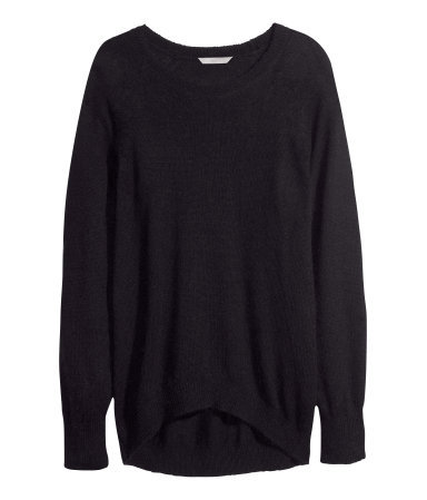 + Knitted Jumper - neckline: round neck; sleeve style: raglan; pattern: plain; style: standard; predominant colour: black; occasions: casual, creative work; length: standard; fibres: polyester/polyamide - mix; fit: loose; sleeve length: long sleeve; texture group: knits/crochet; season: a/w 2013