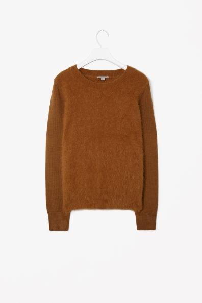 Angora Mix Jumper - neckline: round neck; pattern: plain; style: standard; predominant colour: tan; occasions: casual, creative work; length: standard; fibres: wool - mix; fit: standard fit; sleeve length: long sleeve; sleeve style: standard; texture group: knits/crochet; pattern type: fabric; season: a/w 2013