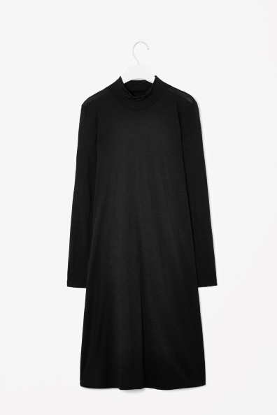 A Line Wool Jersey Dress - style: tunic; fit: loose; pattern: plain; neckline: high neck; predominant colour: black; occasions: casual, creative work; length: just above the knee; fibres: wool - 100%; sleeve length: long sleeve; sleeve style: standard; pattern type: fabric; texture group: jersey - stretchy/drapey; season: a/w 2013