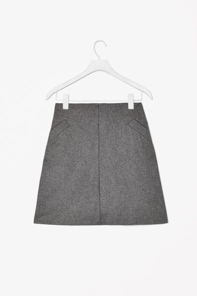 Wool Mix A Line Skirt - length: mid thigh; pattern: plain; fit: tailored/fitted; waist: low rise; predominant colour: mid grey; occasions: casual, work, creative work; style: a-line; fibres: wool - mix; pattern type: fabric; texture group: woven light midweight; season: a/w 2013