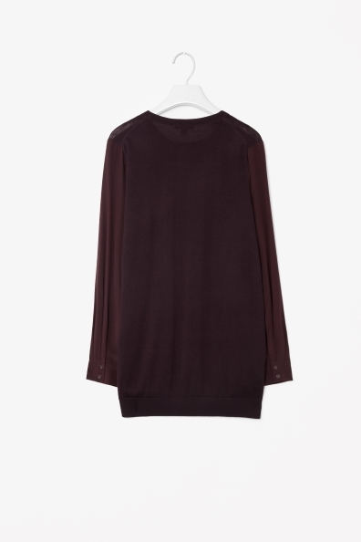 Silk Sleeve Merino Jumper - neckline: round neck; pattern: plain; length: below the bottom; style: standard; predominant colour: burgundy; occasions: casual, creative work; fibres: wool - 100%; fit: loose; sleeve length: long sleeve; sleeve style: standard; texture group: knits/crochet; trends: boden brights; season: a/w 2013