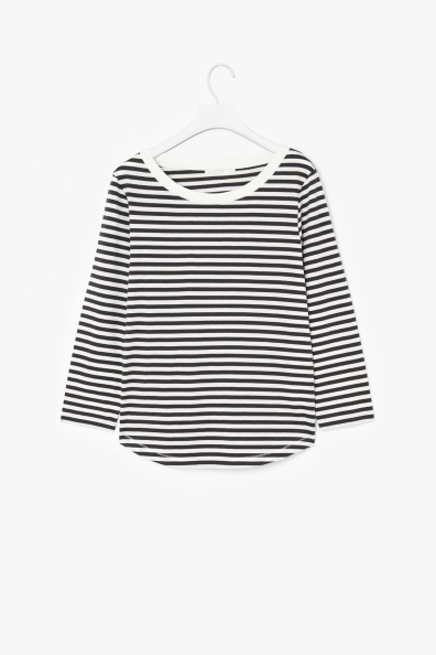 3/4 Sleeved T Shirt - neckline: round neck; pattern: horizontal stripes; style: t-shirt; occasions: casual, creative work; length: standard; fibres: cotton - 100%; fit: body skimming; sleeve length: 3/4 length; sleeve style: standard; predominant colour: monochrome; pattern type: fabric; texture group: jersey - stretchy/drapey; season: a/w 2013