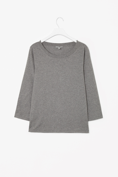 3/4 Sleeved T Shirt - neckline: round neck; pattern: plain; style: t-shirt; predominant colour: mid grey; occasions: casual, work; length: standard; fibres: cotton - 100%; fit: straight cut; sleeve length: 3/4 length; sleeve style: standard; pattern type: fabric; texture group: jersey - stretchy/drapey; season: a/w 2013