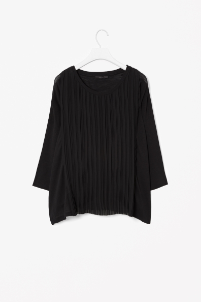Plisse Front Top - neckline: round neck; pattern: plain; predominant colour: black; occasions: casual, work, creative work; length: standard; style: top; fibres: cotton - 100%; fit: loose; sleeve length: 3/4 length; sleeve style: standard; pattern type: fabric; texture group: jersey - stretchy/drapey; season: a/w 2013