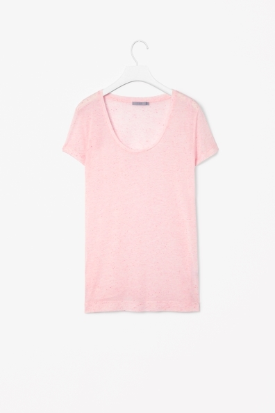 Speckled T Shirt - pattern: plain; style: t-shirt; predominant colour: blush; occasions: casual, creative work; length: standard; neckline: scoop; fibres: viscose/rayon - stretch; fit: body skimming; sleeve length: short sleeve; sleeve style: standard; pattern type: fabric; texture group: jersey - stretchy/drapey; season: a/w 2013