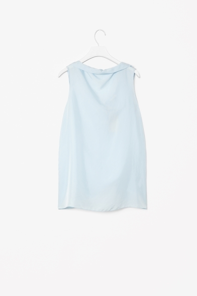 Silk Boat Neck Top - neckline: slash/boat neckline; pattern: plain; sleeve style: sleeveless; back detail: low cut/open back; predominant colour: pale blue; occasions: casual, evening, work, holiday, creative work; length: standard; style: top; fibres: silk - 100%; fit: loose; sleeve length: sleeveless; texture group: silky - light; pattern type: fabric; season: a/w 2013
