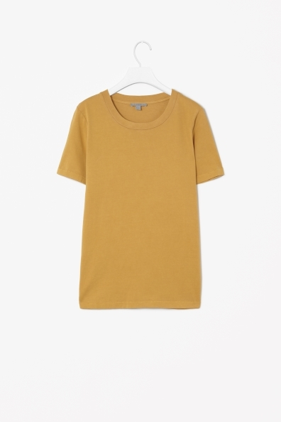 Round Neck T Shirt - pattern: plain; style: t-shirt; predominant colour: mustard; occasions: casual, creative work; length: standard; fibres: cotton - 100%; fit: body skimming; neckline: crew; sleeve length: short sleeve; sleeve style: standard; pattern type: fabric; texture group: jersey - stretchy/drapey; season: a/w 2013