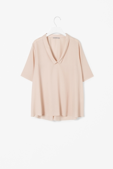 Top With Draped Collar - pattern: plain; style: blouse; predominant colour: nude; occasions: casual, evening, work, creative work; length: standard; fibres: polyester/polyamide - 100%; fit: loose; neckline: no opening/shirt collar/peter pan; sleeve length: short sleeve; sleeve style: standard; pattern type: fabric; texture group: woven light midweight; season: a/w 2013