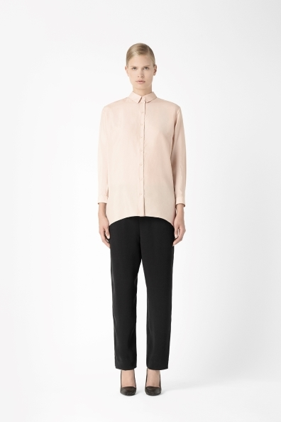 Long Silk Shirt - neckline: shirt collar/peter pan/zip with opening; pattern: plain; style: shirt; predominant colour: nude; occasions: casual, evening, creative work; length: standard; fibres: silk - 100%; fit: loose; sleeve length: long sleeve; sleeve style: standard; texture group: silky - light; trends: masculine feminine; season: a/w 2013