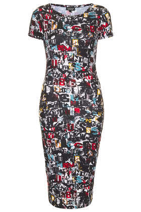 Newspaper Print Cutout Dress - length: below the knee; neckline: round neck; fit: tight; style: bodycon; secondary colour: true red; predominant colour: black; occasions: casual, evening, creative work; fibres: polyester/polyamide - stretch; sleeve length: short sleeve; sleeve style: standard; pattern type: fabric; pattern: patterned/print; texture group: jersey - stretchy/drapey; trends: playful prints; season: a/w 2013