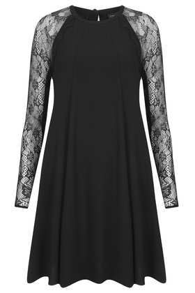 Lace Sleeve Swing Dress - style: smock; length: mid thigh; fit: loose; pattern: plain; shoulder detail: contrast pattern/fabric at shoulder; predominant colour: black; occasions: evening, occasion; fibres: polyester/polyamide - stretch; neckline: crew; sleeve length: long sleeve; sleeve style: standard; pattern type: fabric; texture group: jersey - stretchy/drapey; embellishment: lace; trends: gothic romance; season: a/w 2013