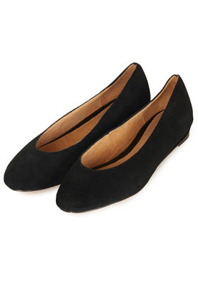 Mello Mini Wedge Court Shoes - predominant colour: black; occasions: casual, evening, work, creative work; material: leather; heel height: flat; toe: round toe; style: ballerinas / pumps; finish: plain; pattern: plain; season: a/w 2013