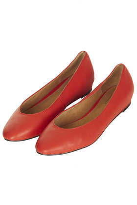 Mello Mini Wedge Court Shoes - predominant colour: coral; occasions: casual, work, creative work; material: leather; heel height: flat; toe: round toe; style: ballerinas / pumps; finish: plain; pattern: plain; season: a/w 2013