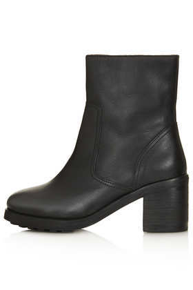 Award Zip Side Biker Boots - predominant colour: black; occasions: casual, creative work; material: leather; heel height: mid; heel: block; toe: round toe; boot length: ankle boot; style: biker boot; finish: plain; pattern: plain; season: a/w 2013