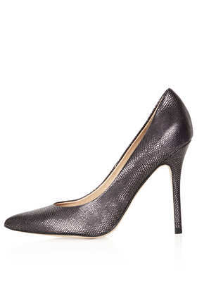 Gwenda Snake Textured Courts - predominant colour: black; occasions: evening, occasion, creative work; material: leather; heel: stiletto; toe: pointed toe; style: courts; finish: metallic; pattern: plain; heel height: very high; season: a/w 2013