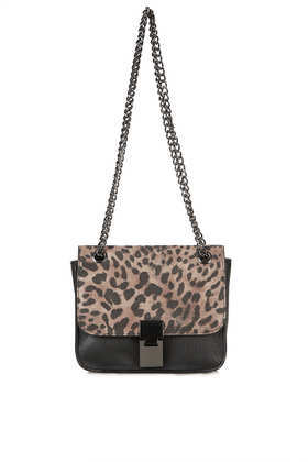 Animal Chain Box Bag - secondary colour: taupe; predominant colour: black; occasions: casual, creative work; type of pattern: small; style: shoulder; length: shoulder (tucks under arm); size: standard; material: faux leather; pattern: animal print; finish: plain; embellishment: chain/metal; season: a/w 2013