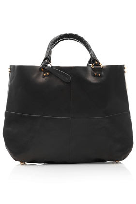 Clean Leather Tote - predominant colour: black; occasions: casual, creative work; type of pattern: standard; style: tote; length: handle; size: standard; material: leather; pattern: plain; finish: plain; season: a/w 2013