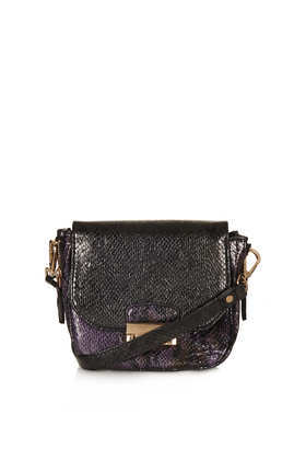 Colour Snake Crossbody Bag - secondary colour: aubergine; predominant colour: black; occasions: casual, creative work; type of pattern: light; style: messenger; length: across body/long; size: small; material: faux leather; pattern: animal print; finish: plain; season: a/w 2013