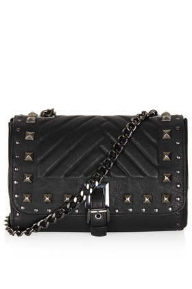 Pyramid Stud Crossbody Bag - predominant colour: black; occasions: casual, creative work; type of pattern: light; style: shoulder; length: shoulder (tucks under arm); size: standard; material: leather; embellishment: studs; pattern: plain; finish: plain; season: a/w 2013