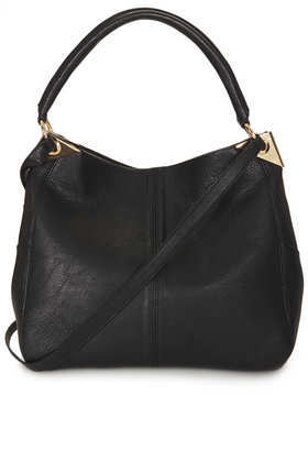 Hinge Hobo Bag - predominant colour: black; occasions: casual, creative work; type of pattern: standard; length: shoulder (tucks under arm); size: standard; material: faux leather; pattern: plain; finish: plain; embellishment: chain/metal; style: hobo; season: a/w 2013
