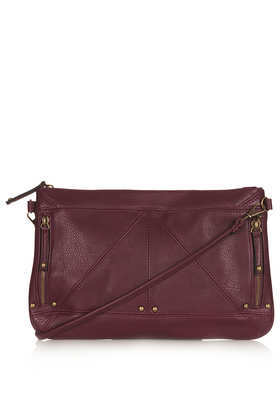 Zip + Stud Clutch - predominant colour: burgundy; occasions: casual, evening, work, creative work; style: clutch; length: hand carry; size: standard; material: faux leather; embellishment: studs; pattern: plain; finish: plain; trends: broody brights; season: a/w 2013