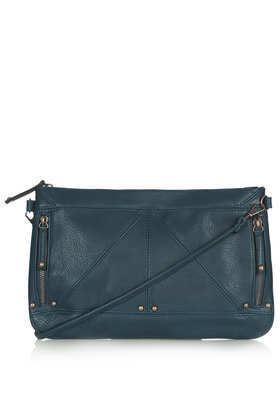 Zip + Stud Clutch - predominant colour: teal; occasions: casual, evening, work, creative work; style: shoulder; length: hand carry; size: standard; material: faux leather; embellishment: studs; pattern: plain; finish: plain; season: a/w 2013