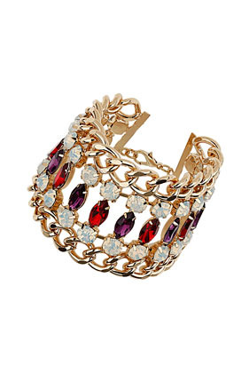 Premium Rhinestone And Chain Bracelet - secondary colour: aubergine; predominant colour: gold; occasions: evening, occasion; style: cuff; size: large/oversized; material: chain/metal; finish: plain; embellishment: crystals/glass; trends: excess embellishment; season: a/w 2013