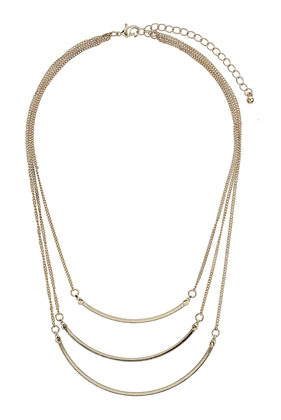 Fine 3 Row Ditsy Necklace - predominant colour: gold; occasions: casual, evening, work, occasion, creative work; style: multistrand; length: mid; size: standard; material: chain/metal; finish: metallic; embellishment: chain/metal; season: a/w 2013