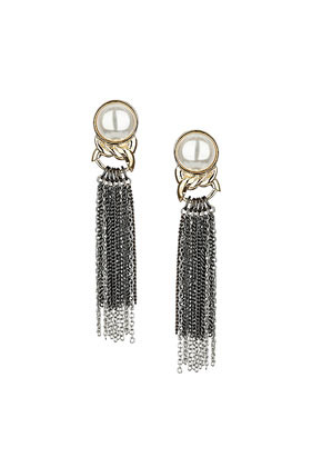 Pearl Tassel Drop Earrings - secondary colour: ivory/cream; predominant colour: charcoal; occasions: evening, occasion, creative work; style: drop; length: long; size: large/oversized; material: chain/metal; fastening: pierced; finish: metallic; embellishment: pearls; trends: 1940's hitchcock heroines; season: a/w 2013
