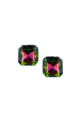Iridescent Square Studs - occasions: casual, evening, occasion, creative work; predominant colour: multicoloured; style: stud; length: short; size: standard; material: chain/metal; fastening: pierced; finish: metallic; embellishment: crystals/glass; season: a/w 2013; multicoloured: multicoloured