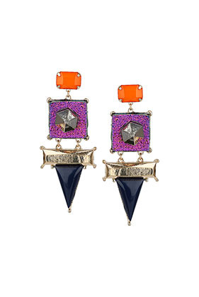 Glitter Triangle Earrings - predominant colour: magenta; secondary colour: bright orange; occasions: casual, evening, occasion, creative work; style: drop; length: long; size: large/oversized; material: chain/metal; fastening: pierced; finish: metallic; embellishment: jewels/stone; season: a/w 2013