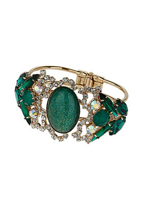 Premium Rhinestone Cluster Bracelet - predominant colour: emerald green; secondary colour: gold; occasions: evening, occasion; style: bangle/standard; size: large/oversized; material: chain/metal; finish: metallic; embellishment: crystals/glass; trends: gorgeous grunge, excess embellishment, gothic romance, broody brights; season: a/w 2013