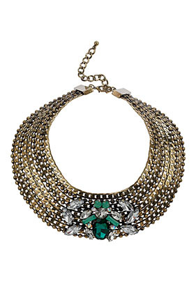 Premium Curb And Ball Chain Rhinestone Collar Necklace - secondary colour: dark green; predominant colour: bronze; occasions: evening, occasion, creative work; length: short; size: large/oversized; material: chain/metal; finish: metallic; embellishment: jewels/stone; style: bib/statement; season: a/w 2013