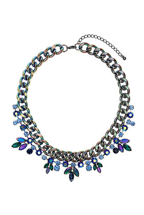 Premium Rhinestone Flower And Chain Collar Necklace - secondary colour: royal blue; predominant colour: charcoal; occasions: evening, occasion, creative work; length: short; size: large/oversized; material: chain/metal; finish: metallic; embellishment: jewels/stone; style: bib/statement; season: a/w 2013