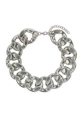 Oversized Chunky Chain - predominant colour: silver; occasions: casual, evening, occasion, creative work; length: short; size: large/oversized; material: chain/metal; finish: metallic; season: a/w 2013; style: chain (no pendant)