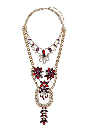 Premium Rhinestone Flower Body Cover Necklace - secondary colour: burgundy; predominant colour: gold; occasions: evening, occasion; length: long; size: large/oversized; material: chain/metal; finish: metallic; embellishment: jewels/stone; style: bib/statement; season: a/w 2013