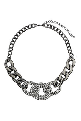 Rhinestone Chain Link Collar - predominant colour: silver; occasions: casual, evening, occasion, creative work; length: short; size: large/oversized; material: chain/metal; finish: metallic; embellishment: crystals/glass; style: bib/statement; season: a/w 2013