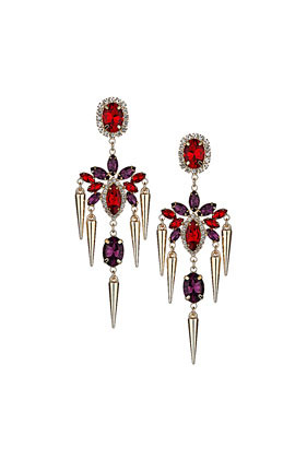 Premium Spike Flower Drop Earrings - predominant colour: burgundy; secondary colour: gold; occasions: evening, occasion; style: drop; length: long; size: large/oversized; material: chain/metal; fastening: pierced; finish: metallic; embellishment: crystals/glass; trends: excess embellishment, broody brights; season: a/w 2013