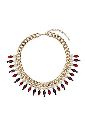 Premium Rhinestone And Chain Collar Necklace - secondary colour: burgundy; predominant colour: gold; occasions: casual, evening, occasion, creative work; length: short; size: large/oversized; material: chain/metal; finish: metallic; embellishment: jewels/stone; style: bib/statement; season: a/w 2013