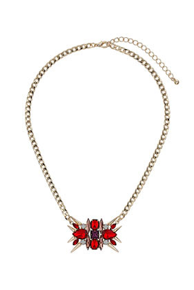 Premium Rhinestone Flower On Chain Necklace - predominant colour: true red; secondary colour: purple; occasions: casual, evening, occasion, creative work; style: pendant; length: mid; size: large/oversized; material: chain/metal; finish: metallic; embellishment: jewels/stone; season: a/w 2013