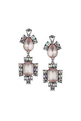 Peach And Rhinestone Drop Earrings - predominant colour: blush; secondary colour: silver; occasions: evening, occasion; style: drop; length: long; size: large/oversized; material: chain/metal; fastening: pierced; finish: metallic; embellishment: crystals/glass; trends: excess embellishment, 1940's hitchcock heroines, broody brights; season: a/w 2013