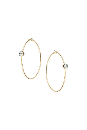 Large Gold Rhinestone Hoops - predominant colour: gold; occasions: casual, evening, occasion, creative work; style: hoop; length: long; size: small/fine; material: chain/metal; fastening: pierced; finish: metallic; embellishment: crystals/glass; season: a/w 2013