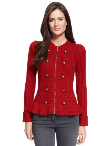 M&S Collection Chunky Button Military Knitted Cardigan With Wool - neckline: round neck; pattern: plain; predominant colour: true red; occasions: casual, work, creative work; length: standard; style: standard; fibres: acrylic - mix; fit: slim fit; sleeve length: long sleeve; sleeve style: standard; texture group: knits/crochet; pattern type: knitted - other; season: a/w 2013