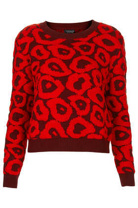 Knitted 3 D Leopard Jumper - style: standard; predominant colour: true red; secondary colour: burgundy; occasions: casual, creative work; length: standard; fibres: cotton - mix; fit: standard fit; neckline: crew; sleeve length: long sleeve; sleeve style: standard; texture group: knits/crochet; pattern type: knitted - fine stitch; pattern: animal print; trends: gorgeous grunge; season: a/w 2013; pattern size: big & busy (top)