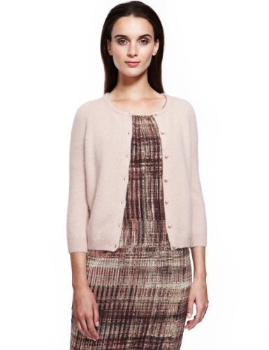 Autograph Fluffy Cardigan - neckline: round neck; pattern: plain; predominant colour: blush; occasions: casual, work; length: standard; style: standard; fibres: wool - mix; fit: standard fit; sleeve length: 3/4 length; sleeve style: standard; texture group: knits/crochet; pattern type: knitted - other; season: a/w 2013