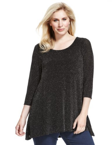 Plus 3/4 Sleeve Metallic Effect Swing Tunic - neckline: round neck; pattern: plain; length: below the bottom; style: tunic; secondary colour: silver; predominant colour: black; occasions: casual, evening, creative work; fibres: polyester/polyamide - stretch; fit: loose; sleeve length: 3/4 length; sleeve style: standard; pattern type: knitted - other; texture group: jersey - stretchy/drapey; season: a/w 2013