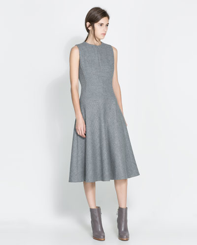 Wool Dress - length: below the knee; pattern: plain; sleeve style: sleeveless; predominant colour: mid grey; occasions: evening, work, occasion, creative work; fit: fitted at waist & bust; style: fit & flare; fibres: polyester/polyamide - stretch; neckline: crew; hip detail: subtle/flattering hip detail; sleeve length: sleeveless; pattern type: fabric; texture group: woven light midweight; trends: 1940's hitchcock heroines; season: a/w 2013