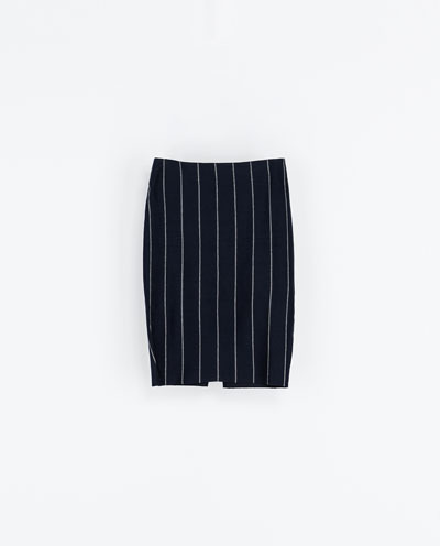 Pinstripe Skirt - style: straight; fit: tailored/fitted; pattern: pinstripe; waist: high rise; secondary colour: white; predominant colour: navy; occasions: casual, evening, work, creative work; length: just above the knee; fibres: cotton - 100%; texture group: cotton feel fabrics; trends: masculine feminine; season: a/w 2013