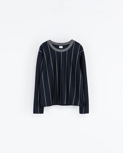 Pinstripe Sweatshirt - neckline: round neck; pattern: vertical stripes; style: sweat top; predominant colour: navy; secondary colour: charcoal; occasions: casual, creative work; length: standard; fibres: cotton - 100%; fit: loose; sleeve length: long sleeve; sleeve style: standard; pattern type: fabric; texture group: jersey - stretchy/drapey; season: a/w 2013
