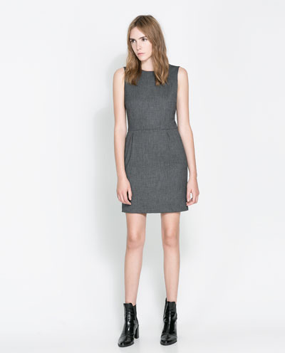 Shift Dress - style: shift; length: mid thigh; fit: tailored/fitted; pattern: plain; sleeve style: sleeveless; predominant colour: mid grey; occasions: evening, creative work; fibres: polyester/polyamide - stretch; neckline: crew; sleeve length: sleeveless; pattern type: fabric; texture group: woven light midweight; season: a/w 2013